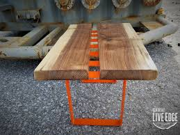 unique coffee tables furniture. Live Edge Coffee Table- Orange- Dark Brown- Modern Cool Furniture- Colorful Handmade- Contemporary Design- Living Room Unique Tables Furniture