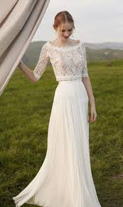 Simple Fall Winter Style Two Pieces Beach Wedding Dress Half