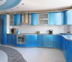 blue kitchen designs. Unique Kitchen Blue Kitchen Designs A Metallic With Modern Curved Cabinets Intended