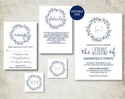 Basic Invitation Template Wedding Invitation Template Navy Classic Wreath Wedding Invite