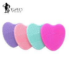 makeup brush cleaner brush cleaning glove mat silicone cleaning pad mini washing brush scrubber heart shaped brush cleaning tool