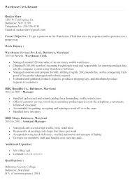 Tag Clerk Sample Resume Stunning Warehouse Stocker Resume Examples Fruityidea Resume