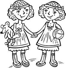Meisjes Tweeling Kleurplaat Gratis Kleurplaten Printen