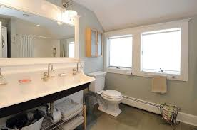 very small bathroom storage ideas built in storage shelving near freestanding bathtub antique black iron faucet gray orange bathroom paper holder frosted