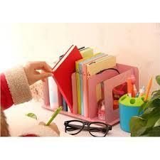 creative diy wooden desk organizer office desktop cd holder file storage rack shelf books random color