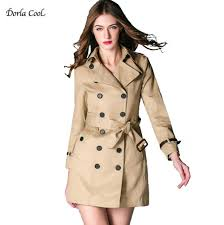 2019 dorla cool women s trench high quality luxury coat 2017 british vintage style designer trench outerwear mid long female overcoat from synthetic