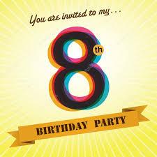 8th Birthday Party Invitations 8th Birthday Party Invite Template Design In Retro Style Vector