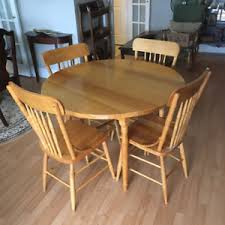 solid birch round table with 4 chairs