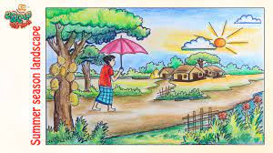 How to draw a summer landscape   Art drawings for kids, Summer season  drawing, Village drawing