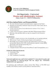 Financial Assistant Job Description Job Opportunity Finance And Administrative Assistant UP CIDS 3