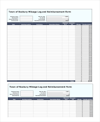 Free Mileage Forms Generic Mileage Log And Reimbursement Form Free Templates