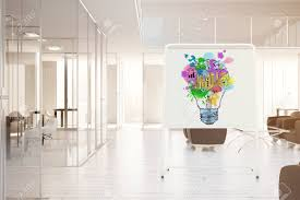 office whiteboard ideas. Modern Office Interior With Colorful Lamp Sketch On Whiteboard. Creative Business Ideas Concept. Toned Whiteboard E