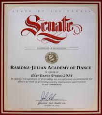 Dance Award Certificate Ramona Academy Of Dance Awards