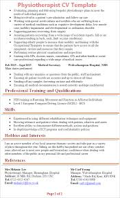 Nhs Resume Examples Physiotherapist Cv Template Tips And Download Cv Plaza