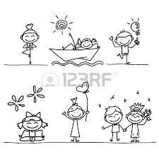 Bambini Stilizzati Set Di Disegno A Mano Cartone Animato Felici I