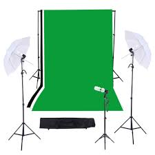 photography studio triple lighting kit with 10ft 12ft black white green muslins backdrops background support system with case