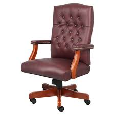 office leather chair. Executive Leather Chair With Cherry Finish Burgundy (Red) - Boss Office Products