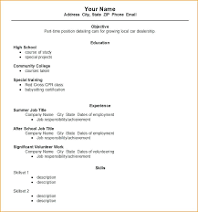 Resume Template First Job