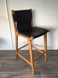 loft leather sling bar stool indigo