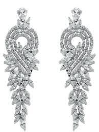 cubic zirconia chandelier earrings gold over sterling silver