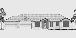house front color elevation view for 10054 sprawling ranch house plans daylight basement great