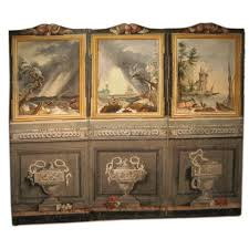 18th century french 3 panel folding screen after claude vernet