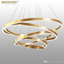 large rings led chandelier lights gold hanging lamp for restaurant chandelier lamp acrylic circle lampadario res lighting pillar candle chandelier