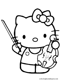 Hello Kitty Playing Violin Instrument Coloring Pages