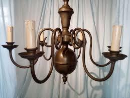 enormous six lights brass chandelier ca 1950 h 100 cm