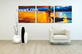 living room art 3 piece canvas wall art ocean multi panel canvas scenery on large 3 panel wall art with 3 piece orange canvas mountain boat ocean art