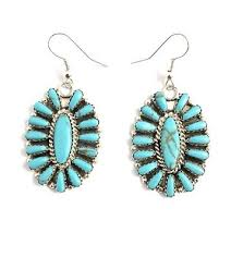 native american sterling silver navajo turquoise cer dangle earrings