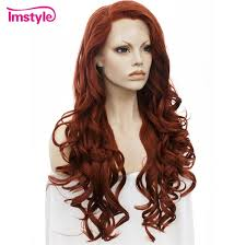 <b>Imstyle Wavy</b> Long Dark <b>Red</b> Wig Lace Front Wigs For Women ...
