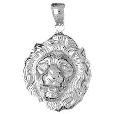 sterling silver lion head pendant rhodium yellow or rose gold plated
