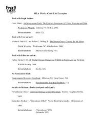 Examples Of Work Cited 10 Example Of Mla Works Cited Page Lycee St Louis