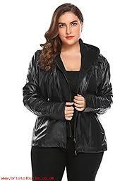 involand womens plus size faux leather moto biker zip up hoo jacket black 1