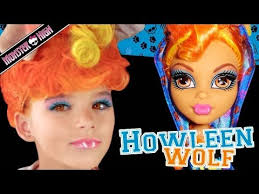 howleen wolf monster high doll costume makeup tutorial for cosplay or emma shows you