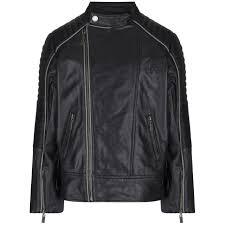 boys black leather motorbike jacket with logo print
