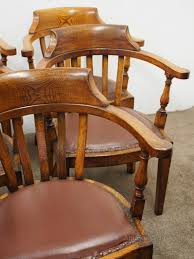 rare set of 8 edwardian oak captains chairs chair sets of 8 antique dining chairs