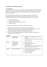 Housekeeping Department Functional Chart Introduction To Housekeeping