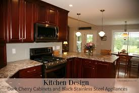 cherry cabinet kitchen designs.  Designs Kitchen Design  Dark Cherry Cabinets And Black Stainless Steel Appliances On Cabinet Designs