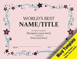 Award Certificates Word Amazing World's Best Award Editable Word Template Printable Etsy