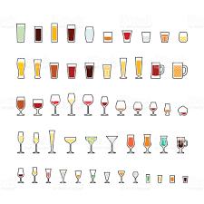 bar glassware line icons set stock vector art   istock