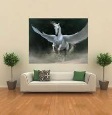 image is loading white pegasus storm wings flying horse giant wall  on giant wall poster art print with white pegasus storm wings flying horse giant wall poster art print