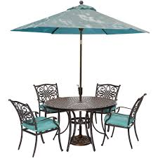 hanover traditions 5 piece outdoor round patio dining set and umbrella and base with blue