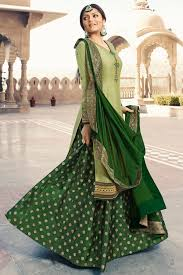 Light Green Combination Light And Dark Green Satin Georgette Sharara Suit