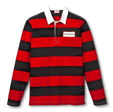 hunter for target men s striped polo rugby shirt long sleeve red black large