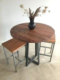 round industrial reclaimed wood pub table 42 bar height in 2019 round reclaimed wood dining table