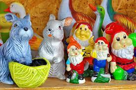 ceramic garden decorations colored pottery zu romania stock photo image of