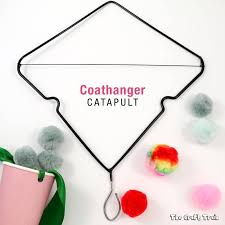Coat hanger catapult craft: Make a simple catapult by upcycling a wire coat  hanger.