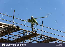 Scaffold Builders Builders High Up Working On Scaffold Stock Photo 60603817